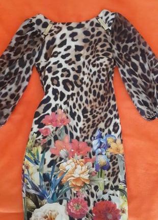 Супер платье леопард + цветочный принт. турция.