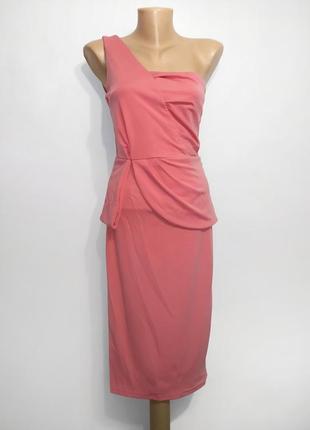Акция! асимметричное платье удлиненное миди на одно плечо, баска, cbr, s