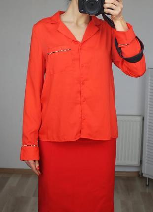 Яркая,сочная оверсайз рубашка,в пижамном стиле,вставки леопардового принта