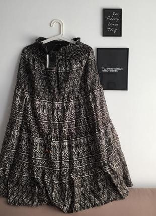 Длинная макси юбка, стиль бохо, богемский стиль, в принт