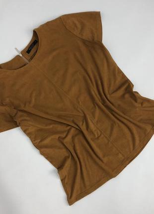 Футболка блуза под замшу коричневая приятная, мягкая размер s-m mohito