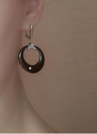 Серьги керамика черные сережки серебро