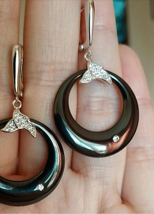 Серьги керамика керамические сережки черные серебро