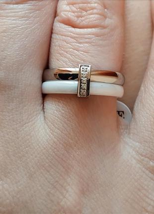 Кольцо 16 17 керамическое белое керамика колечко серебро