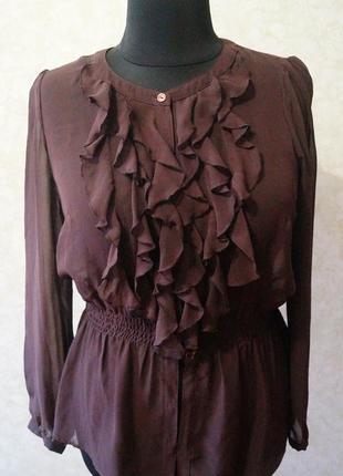 Шифоновая шоколадная блуза