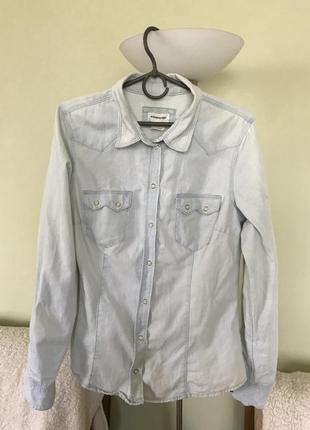 Джинсовая рубашка светло светло голубого цвета h&m denim