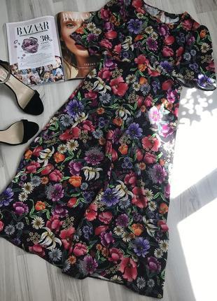 Шикарное миди платье цветочный принт