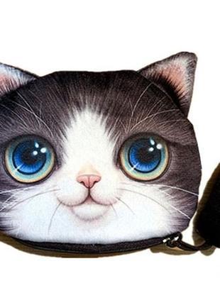 Кошелек детский в виде кота 3d, 4 цвета