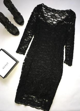 Чёрное силуэтное платье миди/ кружевное платье миди