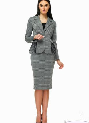 Шикарный костюм angel provocation с кружевом баской! пиджак + юбка карандаш! lux!