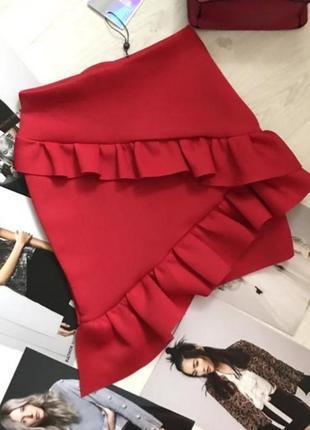 Красная юбка с рюшами/юбка мини/вечерняя юбка/юбка с рюшами