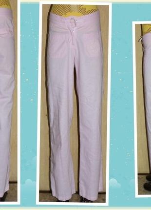 Зачётные брюки лето прямые розовый лёгкий лён/котон, esprit германия