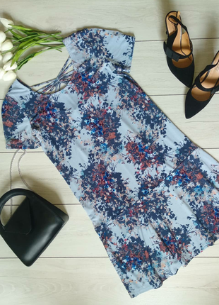 Голубое цветочное платье next/с переплетенной спинкой/ next