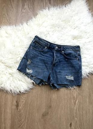 Очень крутые джинсовые шорты с высокой посадкой h&m размер 38