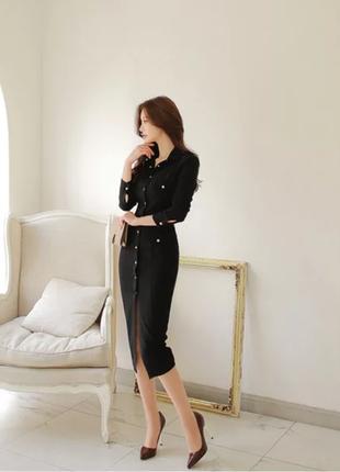 Бандажные чёрное платье в обяжку на пуговицах jane norman