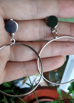 Серьги круглые сережки серебро кольца