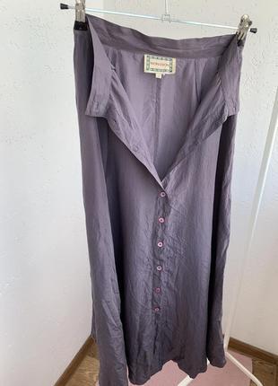 Юбка 100% шёлк silk на пуговицах миди3 фото