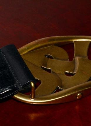Ремень кожаный yves saint laurent vintage leather belt4 фото