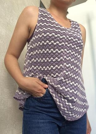 Трендовая вязаная/ажурная майка/туника/топ/блузка crochet top