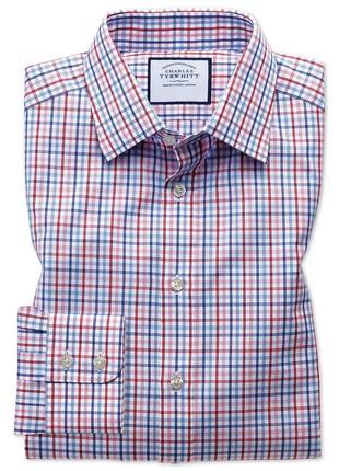 Рубашка классического кроя из поплина с красной клеткой от charles tyrwhitt, р.м