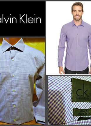 Сиреневая рубашка в мелкую клетку slim fit от calvin klein, оригинал