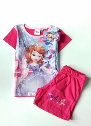 Трикотажний комплект disney - sofia / летний костюм на девочку принцесса софия