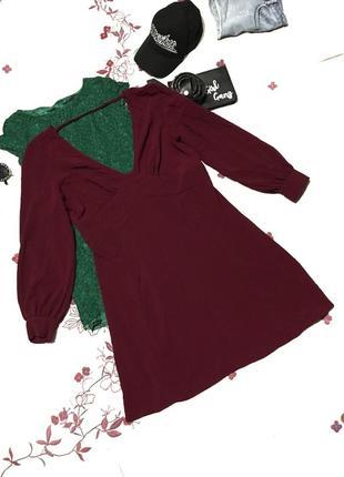Нарядное платье винного цвета из полиэстера