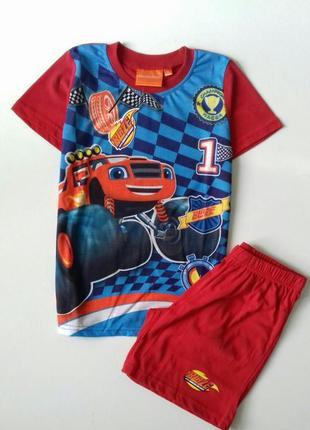 Яскравий комплект disney - blaze / летний костюм на мальчика вспыш и чудо машинки