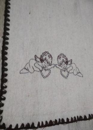 Одеяло-плед шерсть-лен (50/50) с вышивкой ярослав 140*100 см