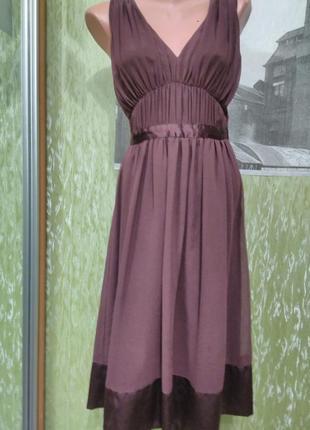 Нарядное, вечернее, шифоновое платье-миди, цвета марсала, бордовое/для выпуска/h&m