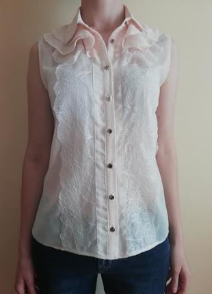 Кружевная шифоновая блуза рубашка без рукавов