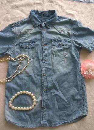 Джинсовая рубашка на девочку 12-13 лет с потёртостями rebel by primark