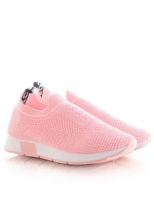 Летние розовые кроссовки в сеточку без шнуровки