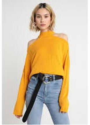 Желтая кофта свитер оверсайз с открытыми плечами lost ink