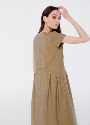 Летнее платье из льна season горчичного цвета2 фото