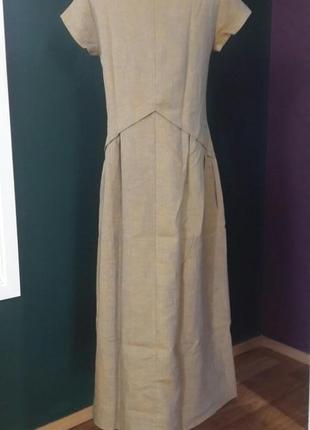Летнее платье из льна season горчичного цвета6 фото