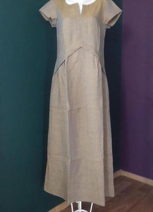 Летнее платье из льна season горчичного цвета5 фото
