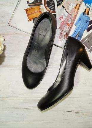 Club! кожа! базовые комфортные туфли на удобном каблучке