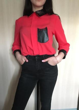 Красная шифоновая блуза,краный топ,кроп топ