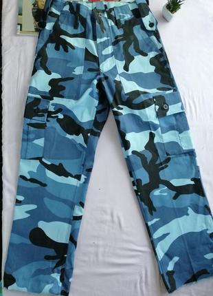 Карго тактические брюки высокая посадка с необработаными краями