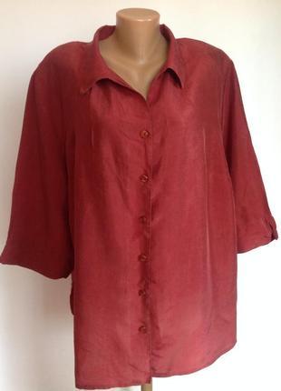 Большая немецкая блузка из искусственного шёлка. 54-56/ brend ulla popken
