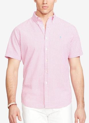 Фирменная коттоновая рубашка в клетку с коротким рукавом