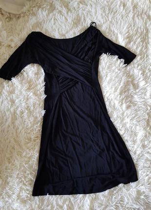 Черное миди платье из 100% натуральной вискозы