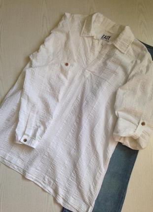Белая легкая рубашка туника жатка с длинным рукавом