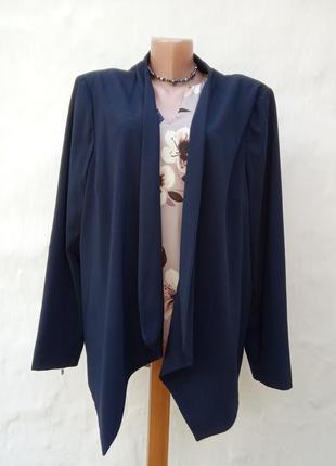 Синий стильный жакет на запах,кардиган,пиджак,батл,большой размер.