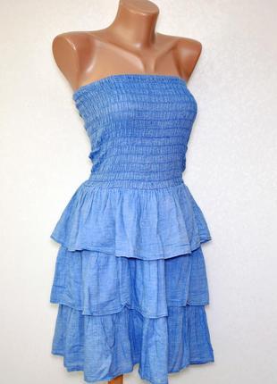 Летний коттоновый сарафан платье-бандо с открытыми плечами и оборками atmosphere