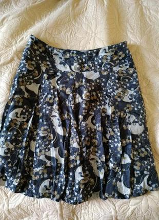 Модная хлопковая юбка в цветы большого размера 44(xxl)новое состояние