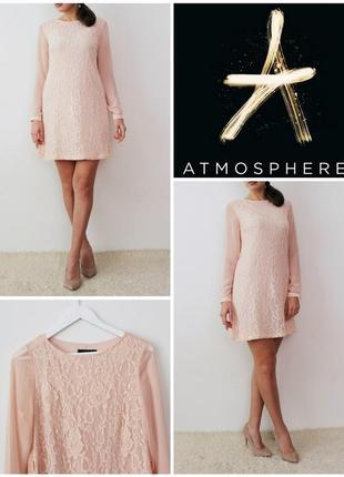 Пудровое платье кружево нежно розовое