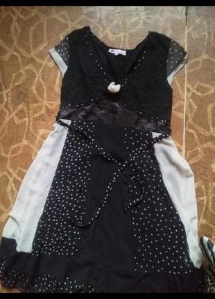 Летнее выпускное длинное платье - сарафан бренда karisma .в горошек