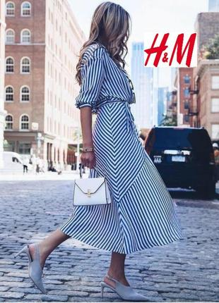 Платье, на запах, в полоску. h&m.